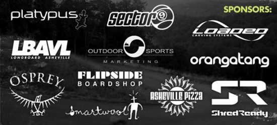 Thrasheville Mountain Skate Festival Sponsors: Asheville Pizza & Brewing Co., Shred Ready, OSM, Sector 9, Loaded, Orangatang, Osprey, Platypus, Smartwool, Flipside Boardshop