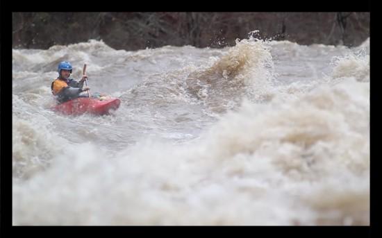 Chris Gallaway in entrance rapid, just below the train bridge near the putin