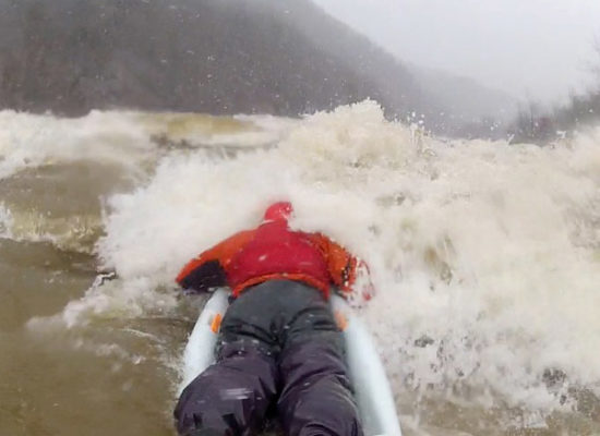Photo: Bellyak - Adam Bellyaks a snowy day on French Broad Section 9
