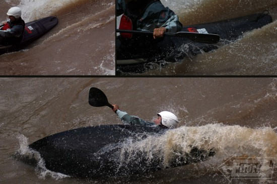 I got to try out my Sword surf kayak which proved to be very dynamic on the top wave on river right.