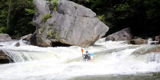 Eric enters Big Splat, the most intimidating and busy rapid on the Big Sandy.  Thanks to Maggie for taking photos and Marissa for setting safety.