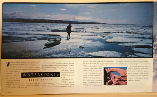 Circa 1989 Patagonia Catalog featuring John Weld crossing and ice field during a Baffin Island kayak expedition.
