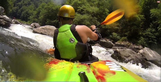 Paddling with the Accent Premier Rogue Bent at the Chattooga River, Jawbone rapid.