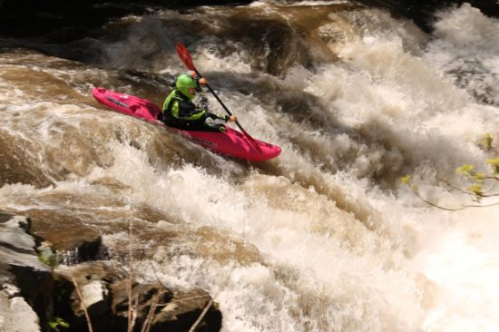 Paddling with the Shred Ready Standard Full Face at the Nantahala Cascades, Horns of God rapid