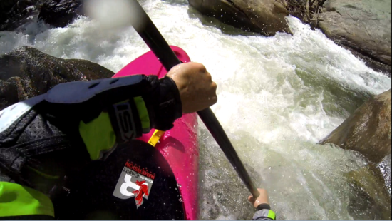Paddling with the Immersion Research Kling-On at the Green River Narrows, Frankenstein rapid