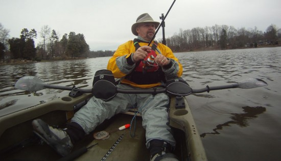 Mark Patterson is shown here using the Microwave Handwarmers during a Wintertime Largemouth Bass Fishing Excursion.
